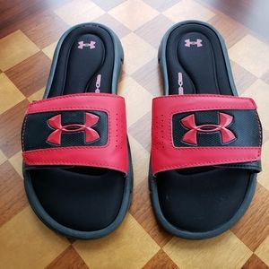 Under Armour Slides Black with Red